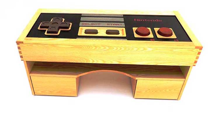 A fully operational Nintendo Game Pad coffee table