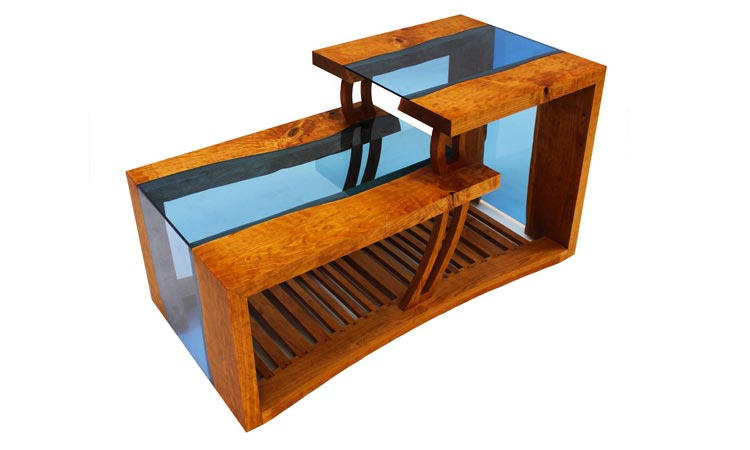 A waterfall coffee table