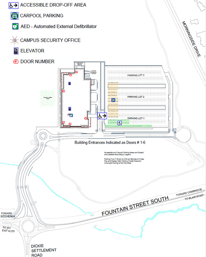Morningside College Campus Map.Parking Lot Maps Conestoga College