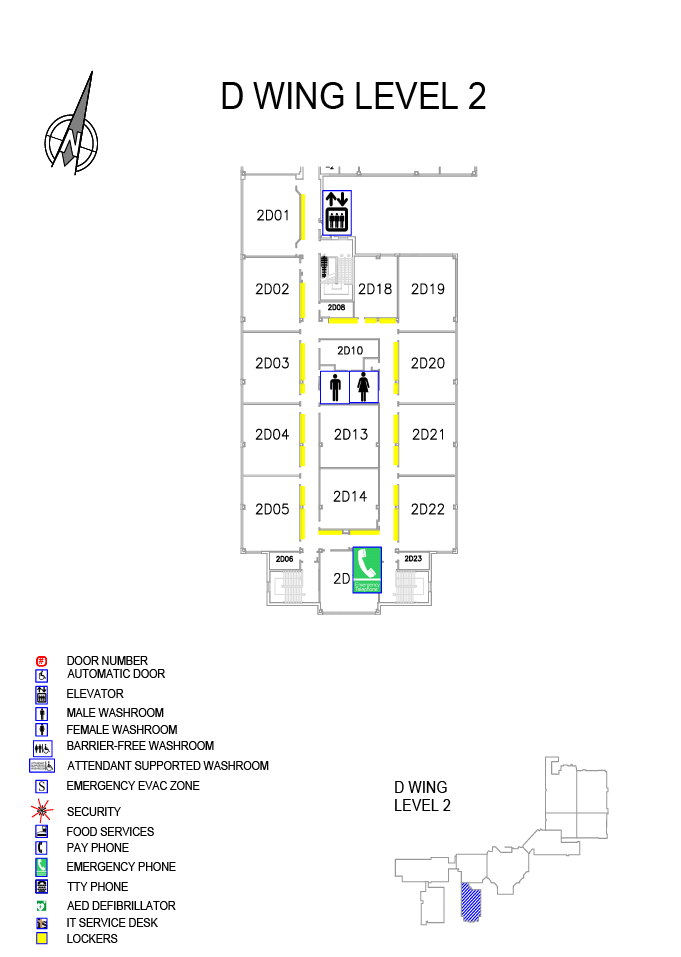 Overview of Doon Main Building (DMB) D wing Level 2