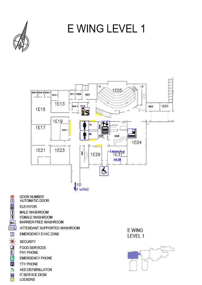 Overview of Doon Main Building (DMB) E wing Level 1